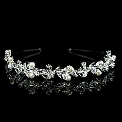 Flower Leaf Pearl Bridal Wedding Bridesmaid Prom Party Crystal Headband Tiara