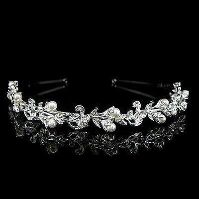 Flower Leaf Pearl Bridal Wedding Bridesmaid Prom Party Crystal Headband Tiara