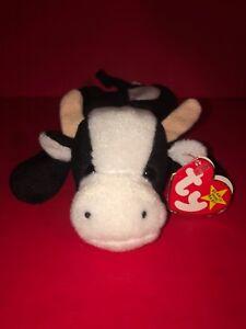 1994 Ty Original Beanie Babies DAISY The Black White Cow w ERROR w ... 3f2f2d587be