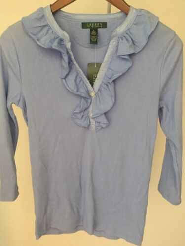 100 Women's W Top S Cotton Ruffles Ralph Blue Nwt Lauren Sz xOtEwnfqtC