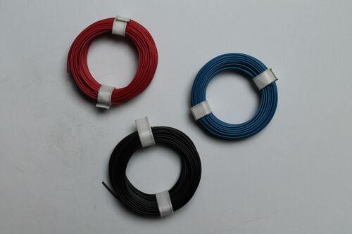 10x0,14; 3x10 m Ring; rot Modellbahnlitze 1-adrig blau schwarz; neu 1m=0,13€