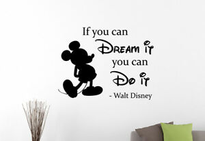 Details about Walt Disney Quote Wall Sticker Mickey Mouse Vinyl Decal Art  Kids Room Decor 22qz