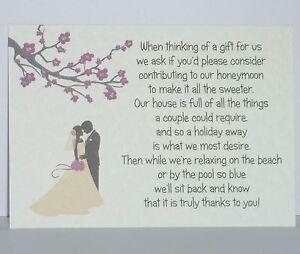 Image Is Loading Blossom Silhouette Wedding Gift Poem Cards Honeymoon Money