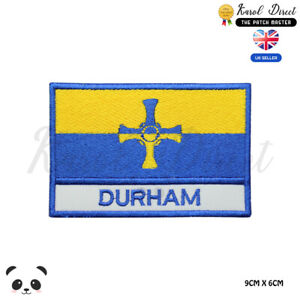 DURHA-England-County-Flag-With-Name-Embroidered-Iron-On-Sew-On-Patch-Badge