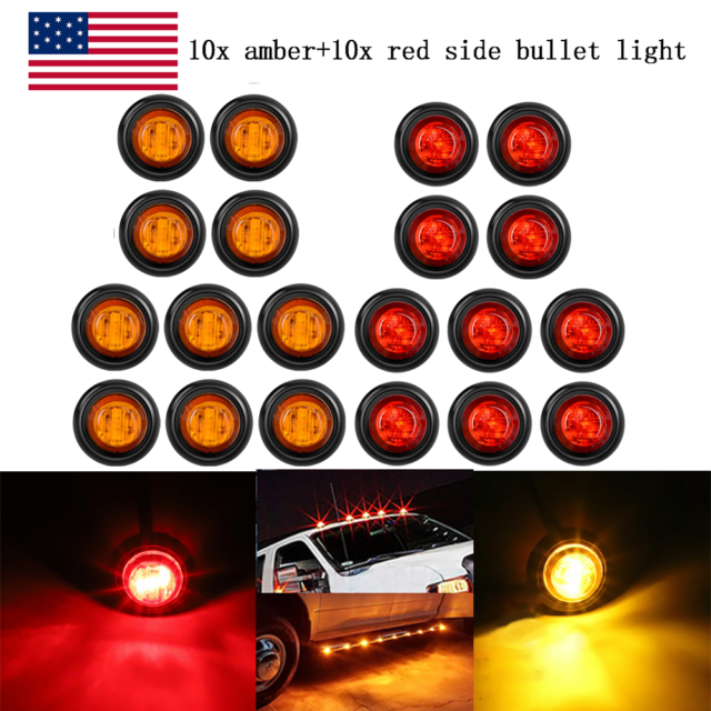 20x Mini 3  4 U0026quot  Amber  Red Led Bullet Turn Signals Light Side
