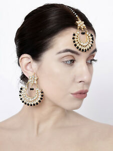 Indian Pakistani Bridal Black Kundan Pearl Maang Tikka Earrings