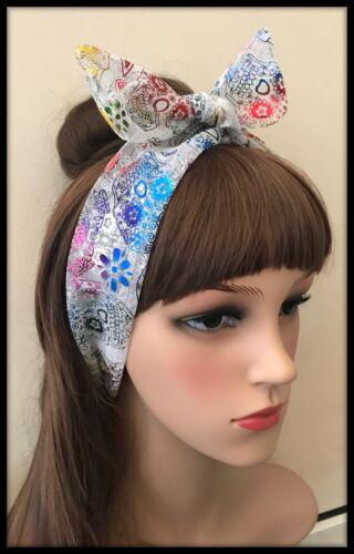 Skulls Crossbones Headband Tulle Tutu Net Bandana Headscarf Hairband Tie Band