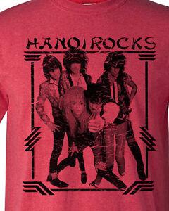 Hanoi-Rocks-T-shirt-80-039-s-Heavy-Metal-Glam-retro-Rock-distressed-heather-red-tee
