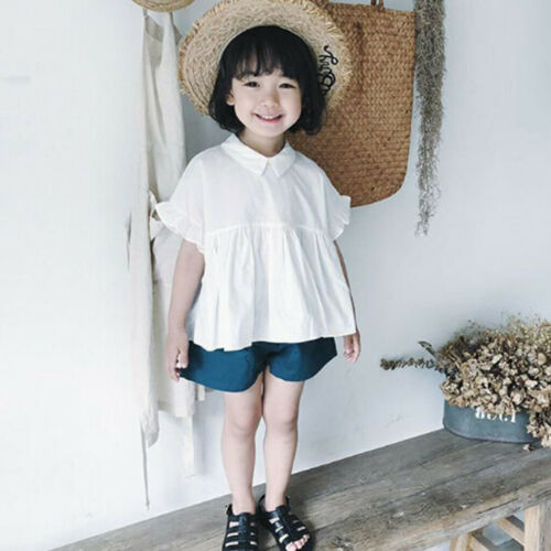 2PCS Toddler Kids Baby Girls Outfits Clothes Doll Collar T-shirt Tops+Shorts Set