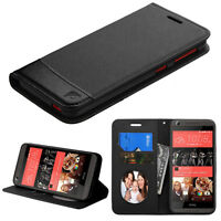 For Htc Desire 626 / 626s Black Leather Flip Wallet Case Cover Stand Folio Pouch