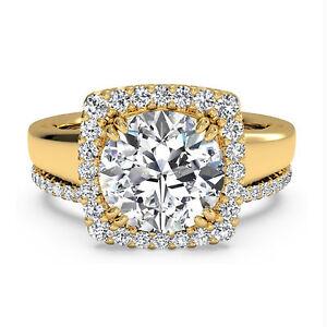 14k Yellow Gold Moissanite Wedding Band Sets 1 25 Carat Diamond