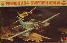 ESCI 1/48 Douglas AD-4 Skyraider France/Sweden Attack Bomber Kit #4076 Started