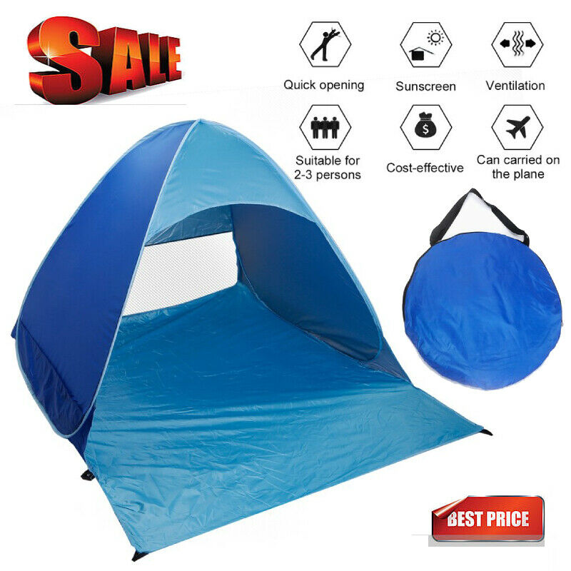 Picnic Hiking Travel Garden Camping 2-3 Person Camping Tent,Portable Beach Tent Lightweight UV Protection Sun Tent,Automatic Pop Up Waterproof Tent Sun Shelters/ for Beach Fishing