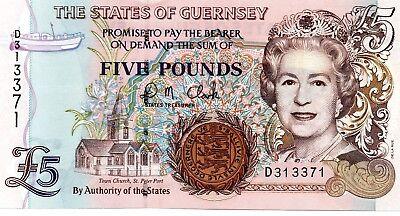 Guernsey 5 Pounds p-56c 2007 UNC Banknote