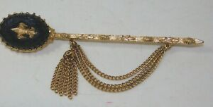 Vintage-Fleur-de-Lis-Black-Rhinestone-Pin-Tassel-Chain-Brooch-8b-119
