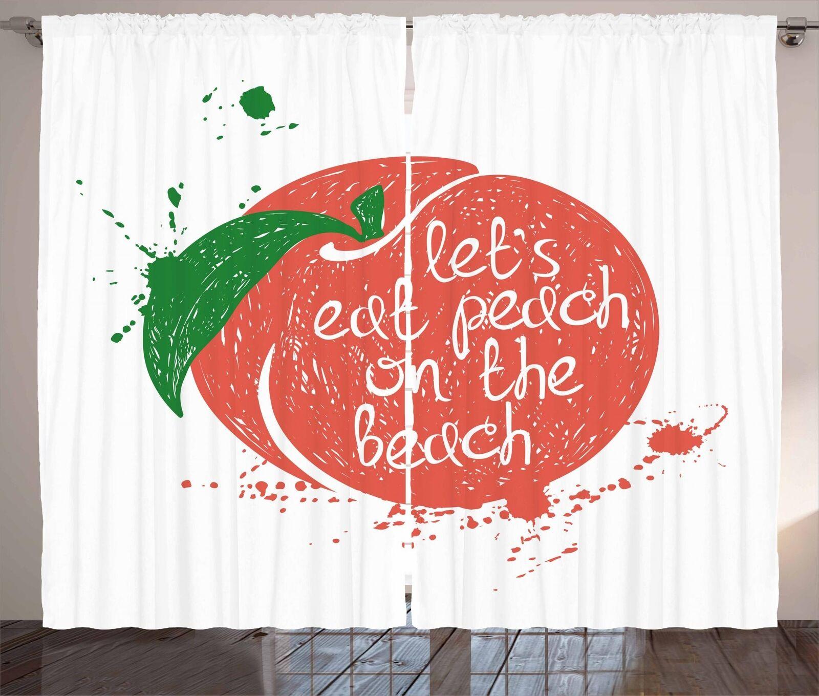 Peach Tones Curtains 2 Panel Set Decor 5 Größes Available Window Drapes