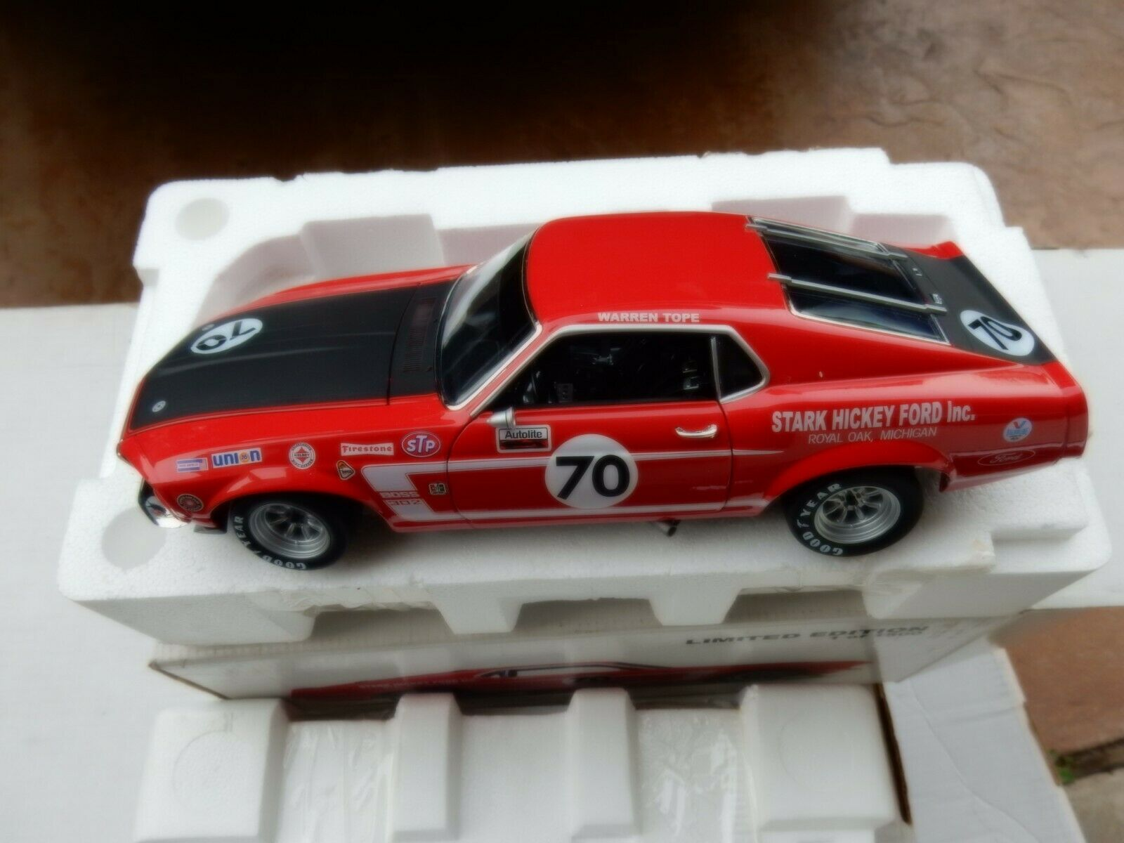 Warren Tope Trans Am Mustang 1970 race  voiture 1.18 Scale Diecast voiture Limited  À ne pas manquer!