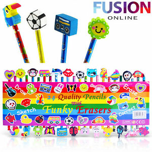 Pencils-Stationary-Kids-School-Art-Craft-Drawing-With-Funky-Erasers-Rubber-X-24