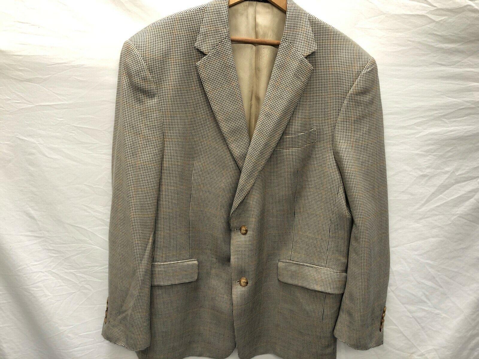 Hart Schaffner Marx For Nordstrom Mens 44R Tan Herringbone Sports Coat 2 Btn