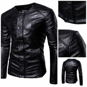 Men-039-s-Slim-Fit-Faux-Leather-Jacket-Motorcycle-Biker-Gothic-Blazer-Collarless-L