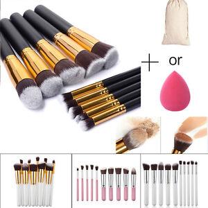 10Pcs Pro Brosse de Maquillage Fond de Teint Blush Pinceaux + 1Pc Powder Puff