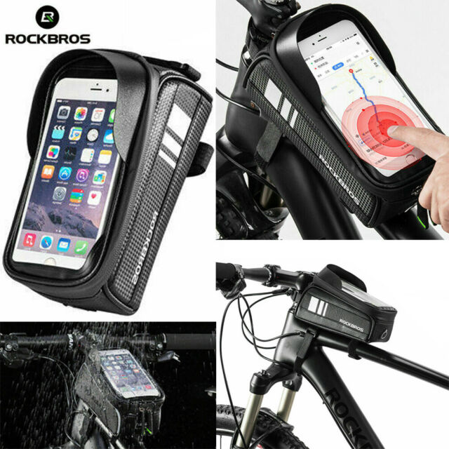 "RockBros Waterproof Frame Tube Bag 6.0/"" Touch Screen Phone Bicycle Bag Black"