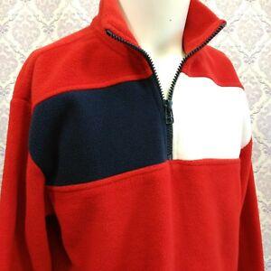 55588060 Image is loading Tommy-Hilfiger-Vintage-Fleece-Jacket-Pullover-Red-Flag-