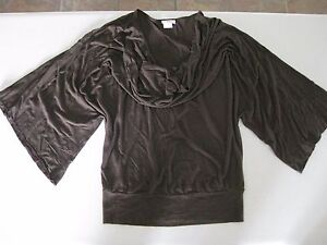 Casual New Neck Cowl Draped Easy Fit Sleeves Shirt Or Brown Dress vdwffO