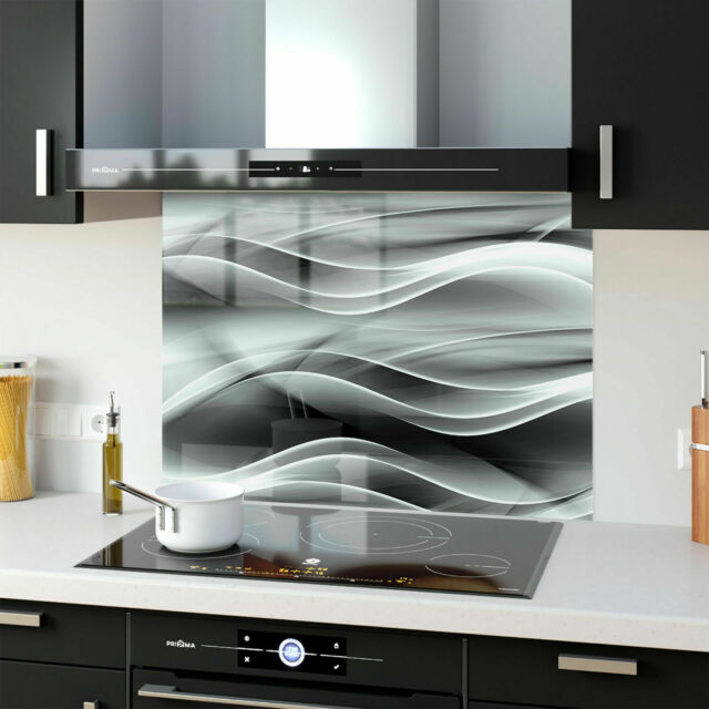 MyAppliances REF1151 60cm x 75cm Glass Hob Deluxe Gloss Black Glass Splashback