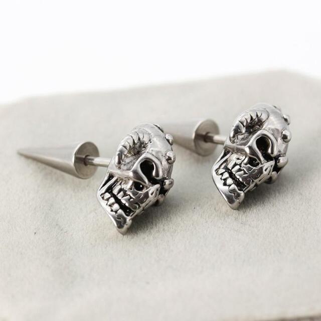 Men Women Stainless Steel Skull Head Skeleton Rivet Spike Back Punk Stud Earring