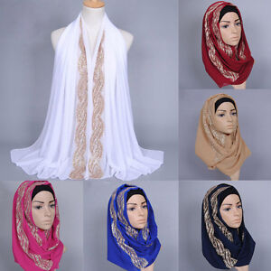 Fashion Muslim Diamante JK Long Scarf Hijab Islamic Shawls Arab Shayla