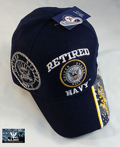 8ffb1905fbe8f US Navy RETIRED Ball Cap BLUE with Camo USN Veteran Chief PO1 CPO ...