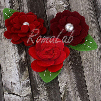 3 ABBELLIMENTI DECORAZIONI ORNAMENTI x SCRAPBOOKING rose in feltro stoffa rosse