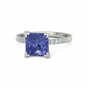 14K-White-Gold-Over-2-20-Ct-Princess-Cut-Tanzanite-Diamond-Halo-Engagement-Ring