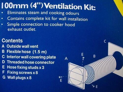 """Estrattore Bagno Wc Ventilatore SFIATO ESTERNO KIT 100mm 4/"""" M431 BIANCO GRILL Marley"""