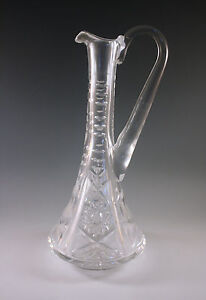 ANTIQUE-AMERICAN-BRILLIANT-CUT-GLASS-CONE-SHAPED-WINE-DECANTER-HAWKES