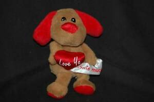 Brown-Puppy-Dog-Valentine-Red-Heart-Love-Ya-This-Much-Dan-Dee-Plush-8-034-Toy-Lovey