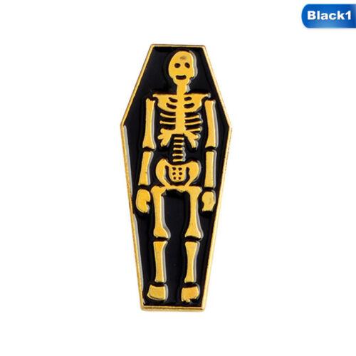 1PC Punk Funny Gravestone Coffin Skeleton Ghost Brooch Pin Jewelry Enamel Brooch