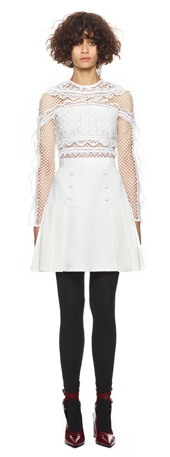 NWT 100% Authentic Self Portrait bellis lace trim dress white US2 UK6 MSP