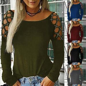 Femmes-Manches-Longues-Shirt-evides-Decontractee-Col-Rond-Strass-Creux-Blouse