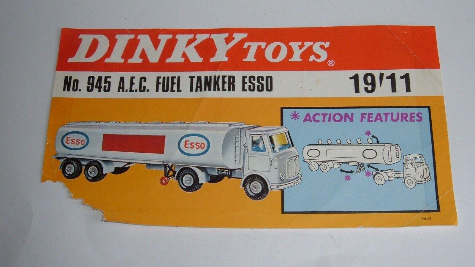 Sconto del 70% DINKY giocattoli Nº 945, 945, 945, AEC autoBURANTE CISTERNA  ESSO  Segno di visualizzazione, - SUPERBA  Garanzia del prezzo al 100%
