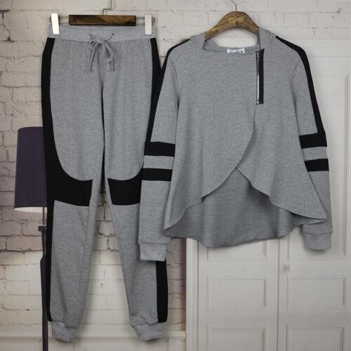 Womens Striped Hoodies Sweatshirt Jumper Coat Pants Set Tracksuit Sports Suit