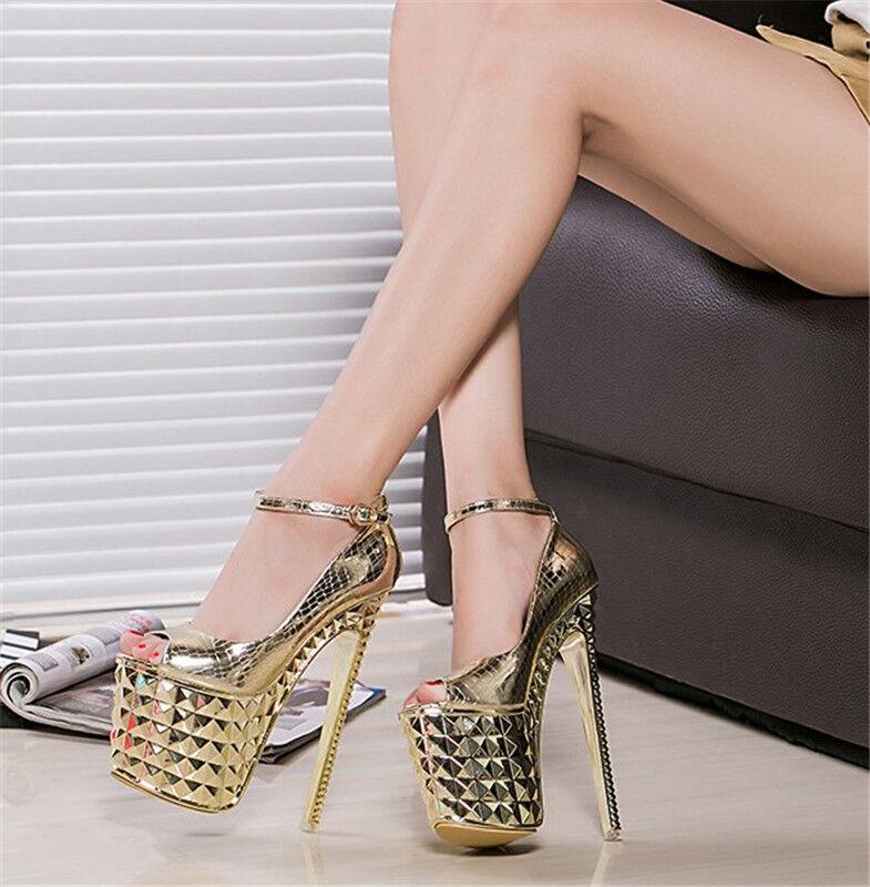 8  Womens Pumps Open Toe Platform Stilettos Super High Heels Club Party shoes