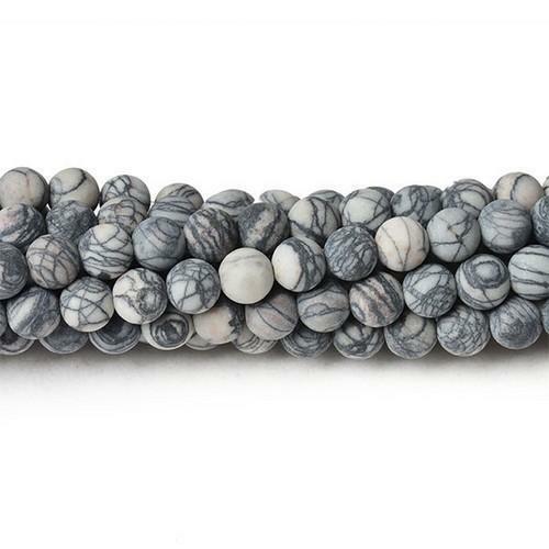 Pcs Frosted Gemstones Jewellery Veined Jasper Round Beads 10mm Grey//Black 32