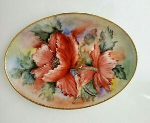 """BAVARIA HAND PAINTED TRAY Flowers and gilded rim,signed  12.25"""""""