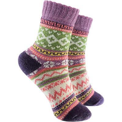 Cosey Dicke Socken - Norweger Lila (33-40) 1 Paar - Baumwolle Atmungsaktiv Weich Lange Lebensdauer