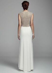 d5ed57efc22d DB Studio Long Jersey Sheath Wedding Dress with Illusion Back Size ...