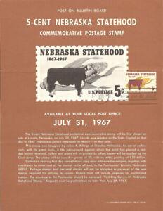 #1328 5c Nebraska Stamp Poster- Unofficial Souvenir Page Folded MC