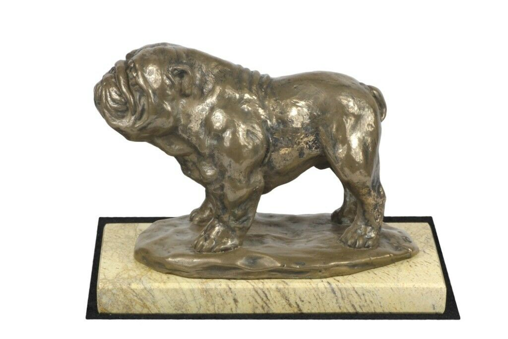 English Bulldog type 3 - sculpture made of Bronze on the sand marble, Art Dog