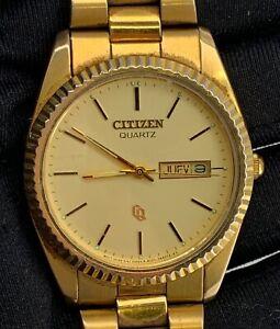 Citizen-915224-KT-Kal-6101-Vintage-35mm-Quarz-Day-Date-Gold-Tone-Nicht-Betrieb